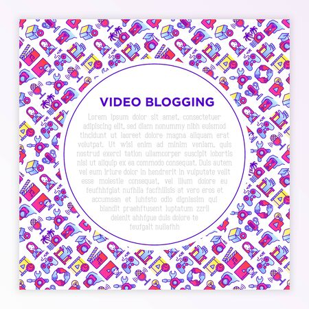 Video blogging concept with thin line icons: vlog, ASMR, mukbang, unboxing, DIY, stream game, review, collaboration, podcast, tips and tricks. Vector illustration, print media template. Imagens - 137271927