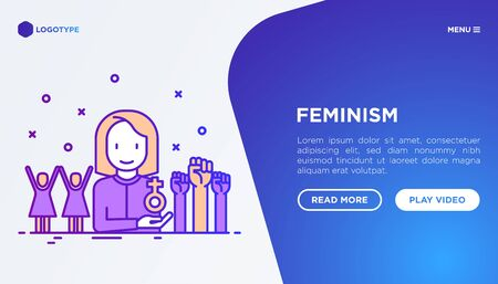 Feminism concept: women's rights, girl power, protest, girls are strong. Modern vector illustration, web page template.