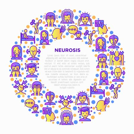 Neurosis concept in circle with thin line icon: panic attack, headache, fatigue, insomnia, despair, phobia, mood instability, stuttering, psychalgia. Vector illustration, print media template. 일러스트