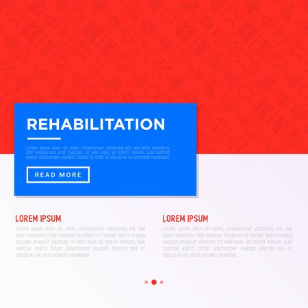 Rehabilitation for disabled concept with thin line icons: magnetic therapy, laser, massage, lymphatic drainage, exoskeleton, cryotherapy, suspension system. Vector illustration, web page template.
