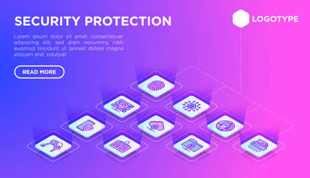 Security and protection web page template thin line isometric icons: mobile security, fingerprint, badge, firewall, face ID, secure folder, keyset, shredder, encrypted messaging. Vector illustration.