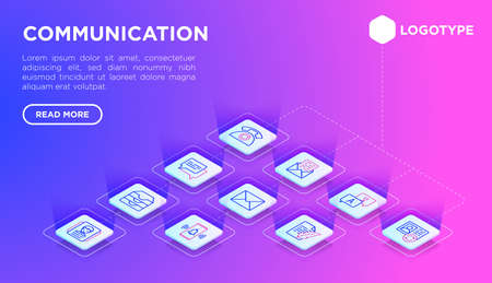 Communication web page template with thin line isometric icons: email, phone, chat, contacts, comment, inbox, translator, presentation, message, support, letter. Modern vector illustration. Иллюстрация