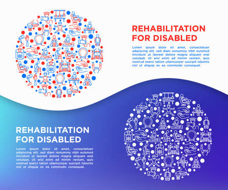 Rehabilitation for disabled concept in circle with thin line icons: magnetic therapy, laser, massage, lymphatic drainage, cryotherapy, biomechatronics. Vector illustration, print media template. Иллюстрация