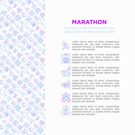 Marathon concept with thin line icons: runner, start, finish, running shoes, bottle of water, route, award, changing room, memory photo, donation, fan zone. Vector illustration, print media template. Иллюстрация