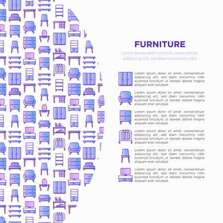 Furniture concept with thin line icons: dressing table, sofa, armchair, wardrobe, chair, table, bookcase, bad, clothes rack, desk. Elements of interior. Vector illustration, print media template. Иллюстрация