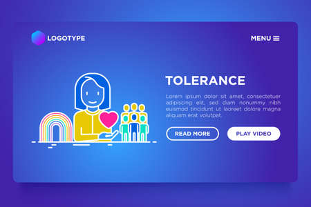 Tolerance concept: gender, racial, national, religious, sexual orientation. Thin line icons. Vector illustration, web page template on gradient background.