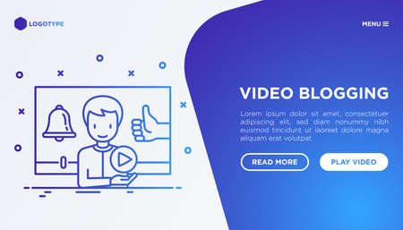 Video blogging concept with thin line icons: blogger in vlog with thumbs up and bell. Modern vector illustration, web page template on gradient background.