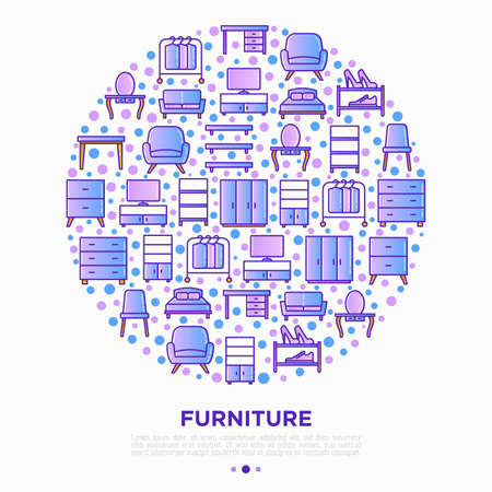Furniture concept in circle with thin line icons: dressing table, sofa, armchair, wardrobe, chair, table, bookcase, bad, clothes rack. Elements of interior. Vector illustration, print media template. Иллюстрация