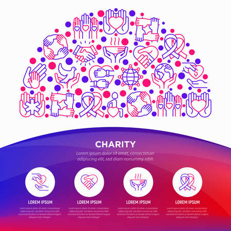 Charity concept in half circle with thin line icons: donation, save world, reunion, humanitarian aid, ribbon, medical support, charity to disabled people. Vector illustration, web page template.