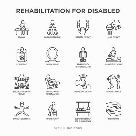 Rehabilitation for disabled thin line icons set: magnetic therapy, laser, massage, lymphatic drainage, exoskeleton, cryotherapy, physiotherapy, biomechatronics, suspension system. Vector illustration. Иллюстрация