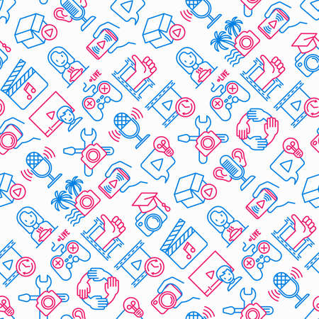Video blogging seamless pattern with thin line icons: vlog, ASMR, mukbang, unboxing, DIY, stream game, review, collaboration, podcast, tips and tricks. Modern vector illustration. Иллюстрация