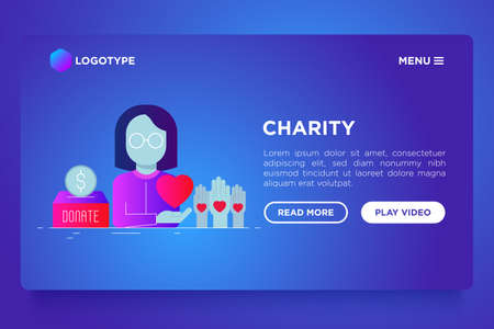 Charity web page template in flat style: woman in glasses with heart in hand, donation box and volunteers hands. Modern vector illustration on gradient background.