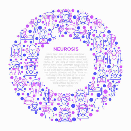 Neurosis concept in circle with thin line icon: panic attack, headache, insomnia, despair, phobia, mood instability, stuttering, psychalgia, dizziness. Vector illustration, print media template.