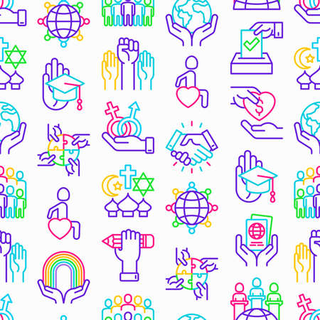 Tolerance seamless pattern with thin line icons: gender, racial, national, religious, orientation, educational, interclass, for disability, respect, human rights, democracy. Vector illustration