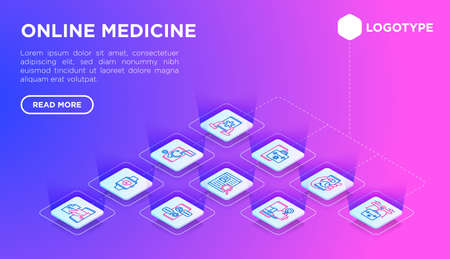 Online medicine web page template with thin line isometric icons: pill timer, ambulance online, medical drone, medical tracker, messenger, check symptoms, mobile consultant. Vector illustration.