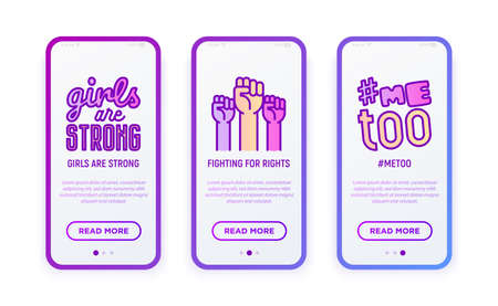 Feminism thin line icons set: fighting for rights, me too, girls are strong. Modern vector illustration for user mobile interface.