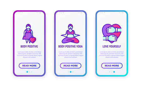 Body positive thin line icons set: woman plus size, yoga, love yourself. Vector illustration for user mobile interface.