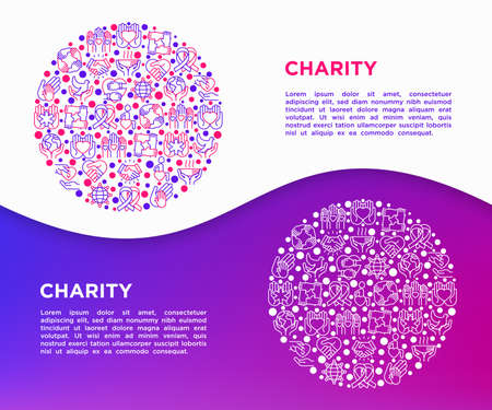 Charity concept in circle with thin line icons: donation, save world, reunion, humanitarian aid, medical support, charity to disabled people, life saving. Vector illustration, print media template.