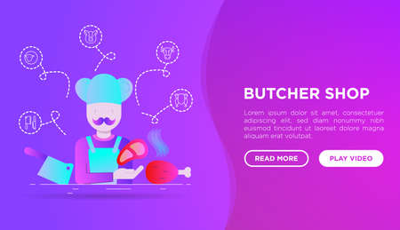 Butcher shop concept: chef with meat steak and knife. Web page template in flat style with gradient. Thin line icons: beef, pork, mutton, chicken. Modern vector illustration. Иллюстрация