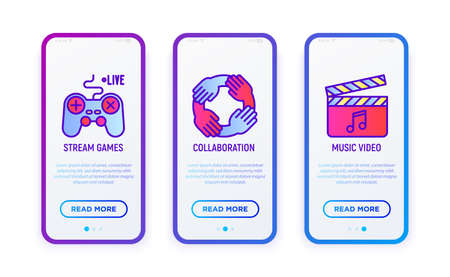 Video blogging thin line icons set: stream game, collaboration, music video. Vector illustration for user mobile interface.