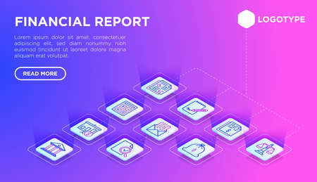 Financial report web page template with thin line isometric icons: bank, financial analytics, calculate, signature, email, presentation, audit, income, balance, bookkeeping. Vector illustration.