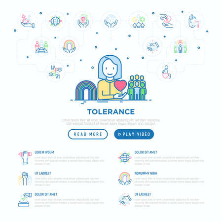 Tolerance web page template with thin line icons: gender, racial, national, religious, sexual orientation, educational, interclass, disability, respect, human rights, democracy. Vector illustration