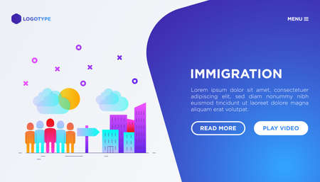 Immigration web page template with gradient flat icons: immigrants moving to the big city. Modern vector illustration. 矢量图像