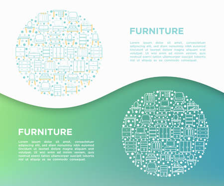 Furniture concept in circle with thin line icons: dressing table, sofa, armchair, wardrobe, chair, table, bookcase, bed, clothes rack. Elements of interior. Vector illustration, print media template.