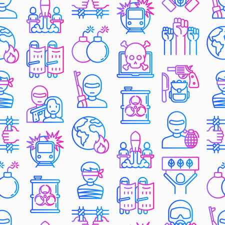 Stop terrorism seamless pattern with thin line icons: terrorist, civil disorder, national army, hostage, bombs, cyber attacks, suicide, bomber, illegal imprisonment, bioterrorism. Vector illustration.