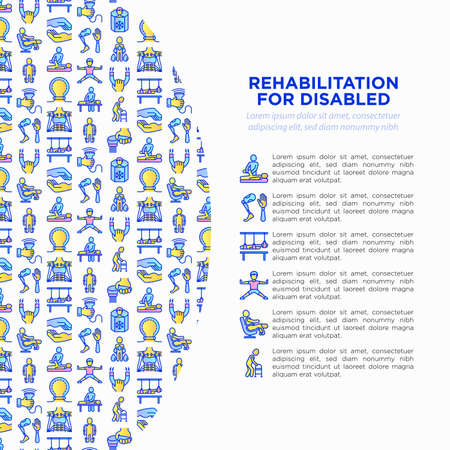 Rehabilitation for disabled concept with thin line icons: magnetic therapy, laser, massage, lymphatic drainage, exoskeleton, cryotherapy, biomechatronics, suspension system. Vector illustration, web page template.