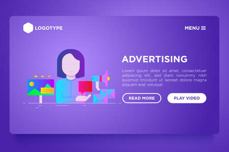 Advertising web page template: woman gives ad on billboard, email and social media. Flat gradient icons. Vector illustration. Иллюстрация