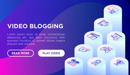Video blogging concept with thin line isometric icons: vlog, ASMR, mukbang, DIY, stream game, review, collaboration, podcast, tips and tricks. Modern vector illustration, web page template.