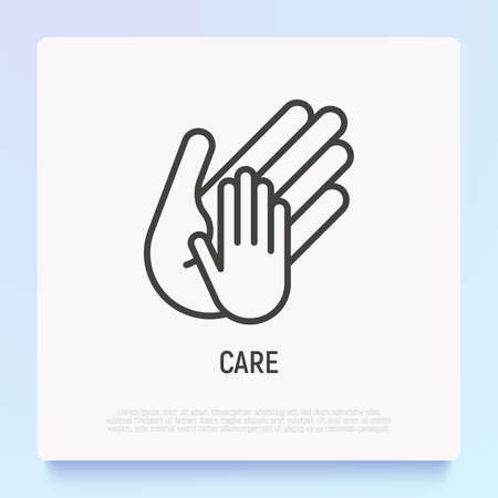 Hand of adult holds child's hand thin line icon. Modern vector illustration, care sign. 矢量图像
