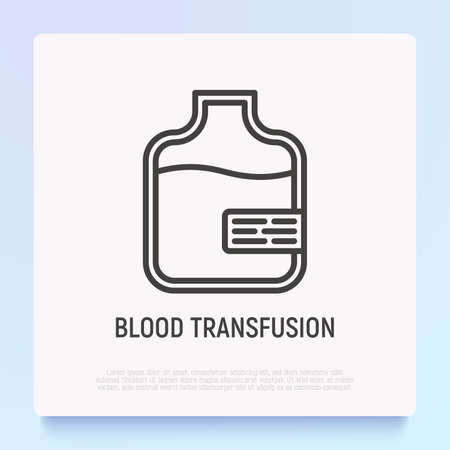 Blood transfusion thin line icon. Modern vector illustration of blood bag. Иллюстрация