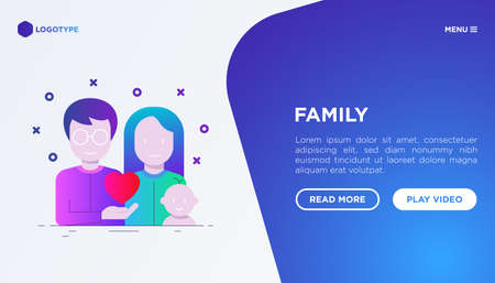 Happy young family concept: father, mother and baby. Web page template with gradient flat icons. Modern vector illustration for medical insurance or social issues. Иллюстрация