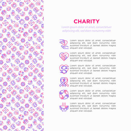 Charity concept with thin line icons: donation, save world, reunion, humanitarian aid, ribbon, medical support, charity to disabled people, life saving. Vector illustration, print media template. Ilustrace