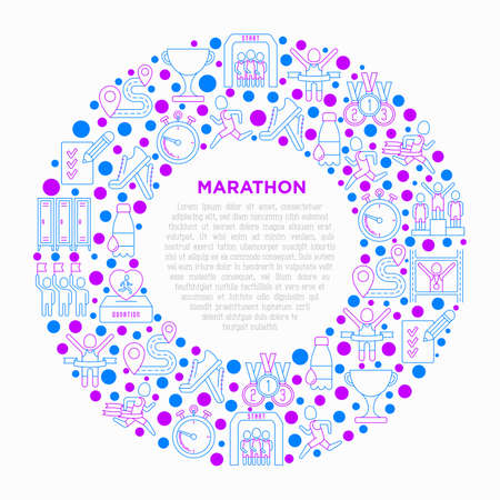 Marathon concept in circle with thin line icons: runner, start, finish, running shoes, bottle of water, route, award, changing room, memory photo, donation, fan zone. Vector illustration.