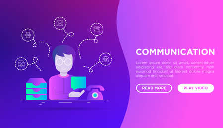 Communication web page template: man sending message. Flat gradient style. Thin line icons: email, phone, chat, contacts, inbox, message. Vector illustration. Иллюстрация