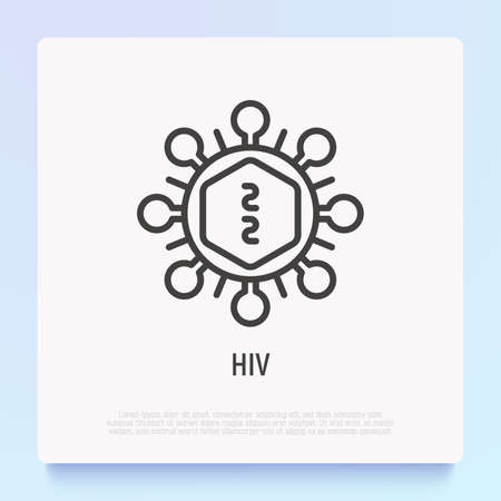 HIV cell under microscope thin line icon. Modern vector illustration. Иллюстрация