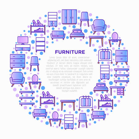 Furniture concept in circle with thin line icons: dressing table, sofa, armchair, wardrobe, chair, table, bookcase, bed, clothes rack, desk. Elements of interior. Vector illustration.