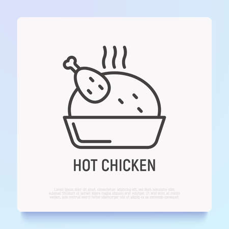 Hot chicken thin line icon. Modern vector illustration.
