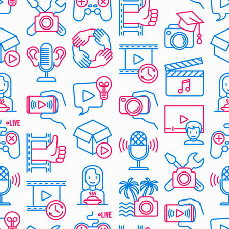 Video blogging seamless pattern with thin line icons: vlog, ASMR, mukbang, unboxing, DIY, stream game, review, collaboration, podcast, tips and tricks. Modern vector illustration. Illustration
