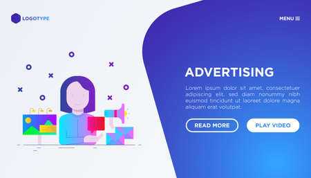 Advertising web page template: woman gives ad on billboard, email and social media. Flat gradient icons. Vector illustration. 矢量图像
