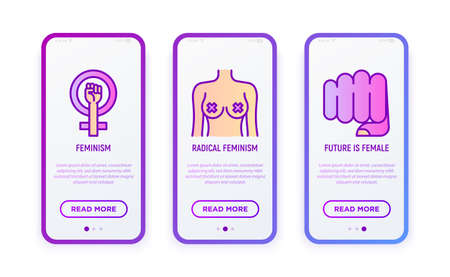 Feminism thin line icons set. Modern vector illustration for user mobile interface.