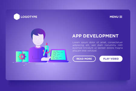 App development web page template: developer coding on laptop. Flat gradient icons. Modern vector illustration.