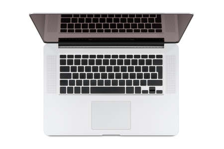 Top view of modern retina laptop, isolated on white background High quality You can put any symbols on the keyboard and any image on the monitor