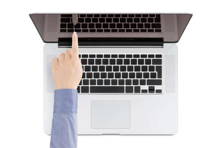 Top view of modern retina laptop with a woman s hand pointing at the screen on white background  You can put any image on the screen, while retaining reflection of keyboard  photo