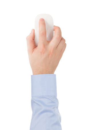 mouse: Man s hand in a shirt is on the modern wireless glass touch mouse on a white background, top view  Stock Photo