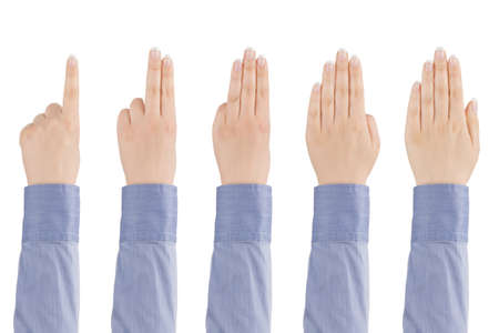 Woman s hand shows with fingers from one to five on a white background  photo