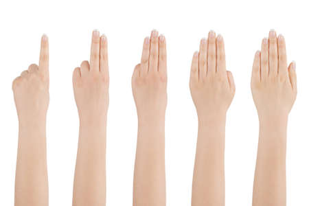 Woman s beautiful hand shows with fingers from one to five on a white background